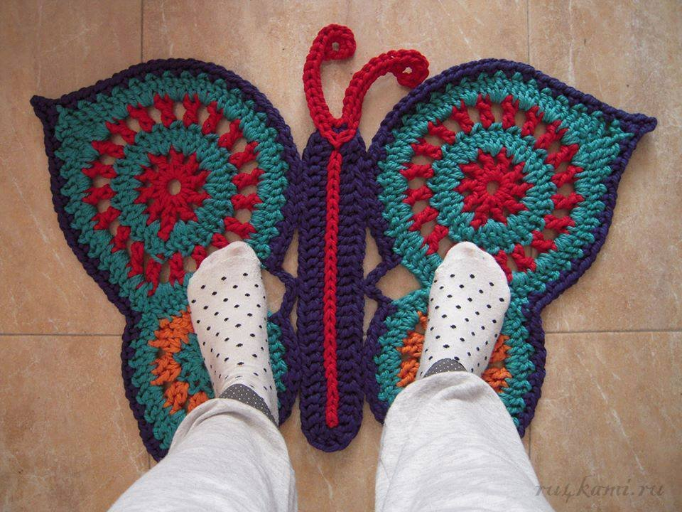 Бабочка, коврики крючком схема