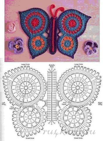 Бабочка, коврики крючком