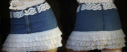 Как украсить джинсовую юбку своими руками фото