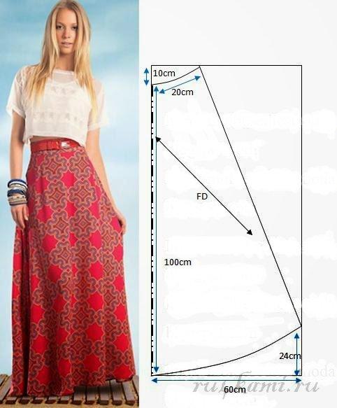 Летняя юбка фасон и выкройка