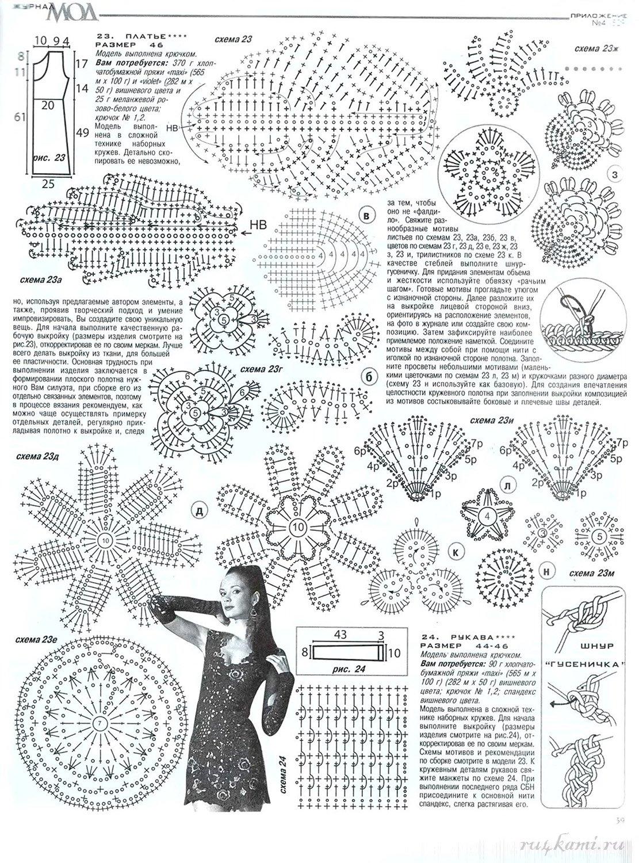 Ирландское кружево платья и схемы