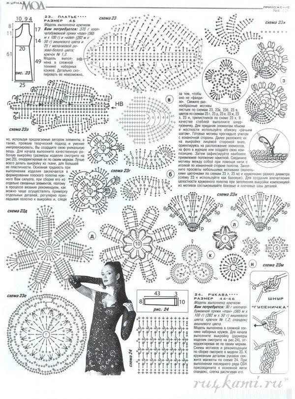 Модели вязанные крючком со схемами платья
