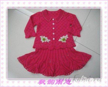 Ажурные платье и кофточка, костюмы для девочек