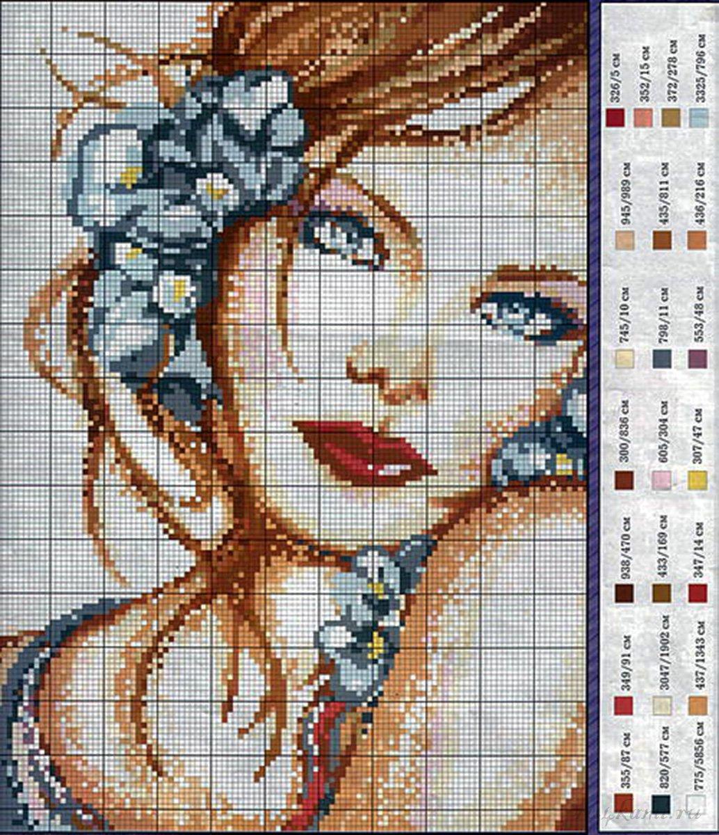 Картины вышитые крестом схемы девушки