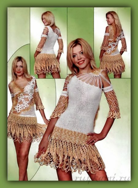 Воздушное вязаное платье спицами и крючком по описанию и схемам. вязаное платье, платье