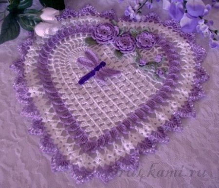 Сердечко, салфетки вязанные крючком