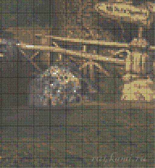 Избушка в лесу, вышивка крестиком