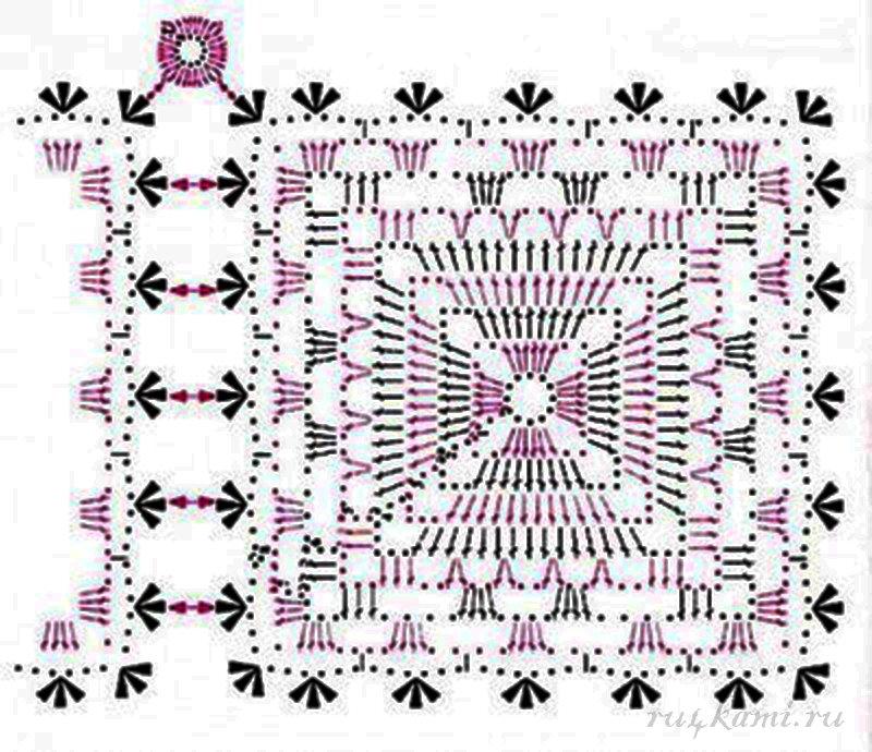 Вязание крючком салфетка квадратная простая 38
