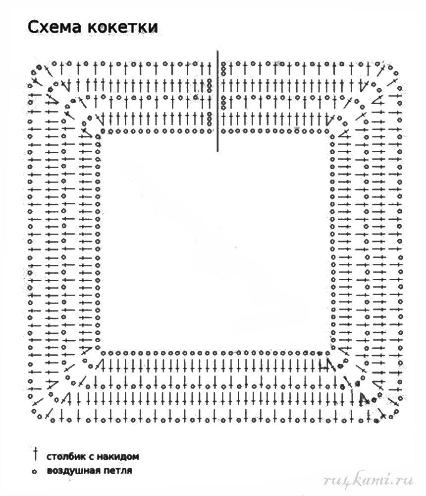 Вязание квадратной кокетки крючком для платья на 565