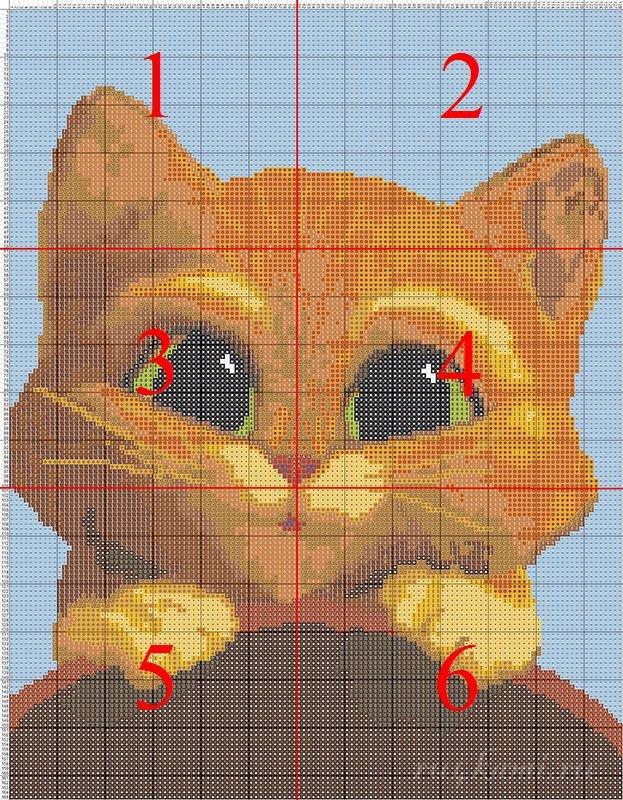 Кот, вышивка крестом, схема: