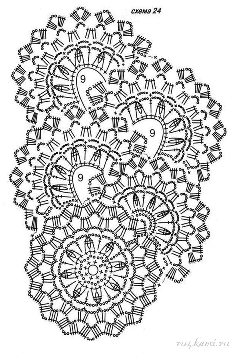 Схема вязания ленточного ажурного кружева крючком