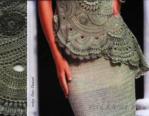Женский костюм, длинная юбка и туника