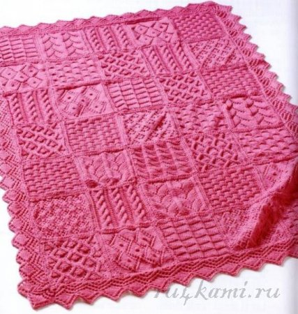Эффектное одеяло спицами