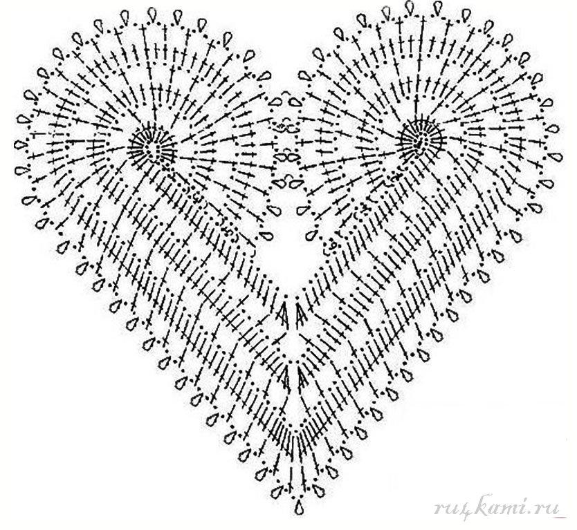 Платье крючком узором из сердечек от Ванессы Монторо