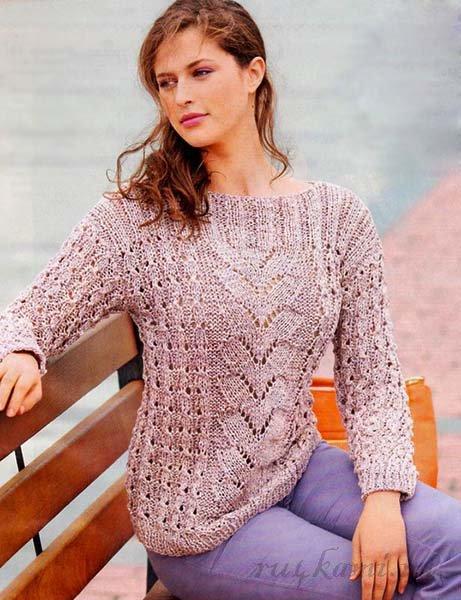 Летний пуловер с косами - схема вязания спицами. Вяжем