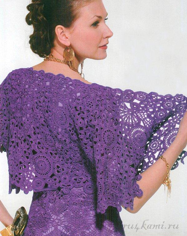 Вязаное болеро на платье крючком