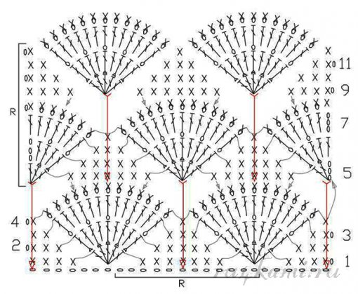 Объёмный узор крючком схемы и описание