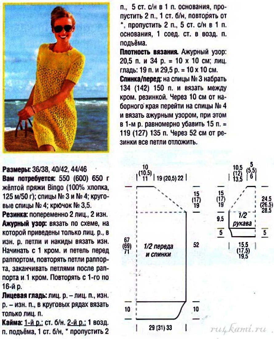 Вязанные спицами женские платья со схемой и описанием