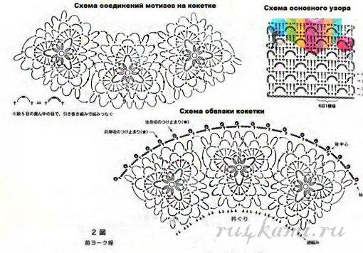 Схема вязания кокетки крючком круглой кокетки 85