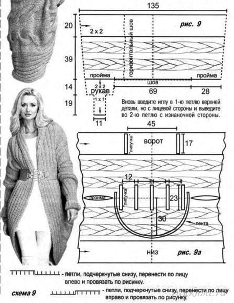 Как связать пальто спицами 48 размера