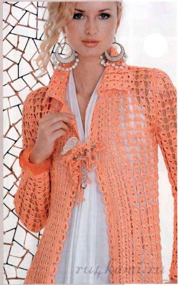Вязаное пальто вытянутыми петлями
