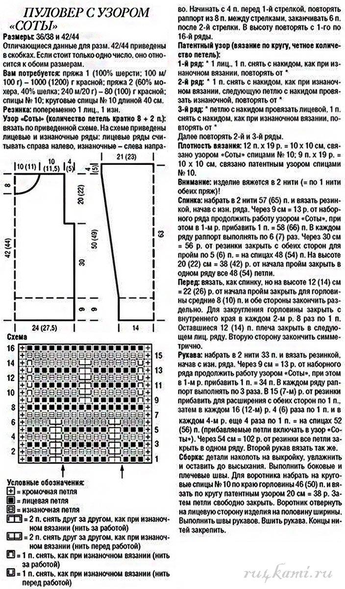 Описание вязания кардигана рисунок соты спицами 18